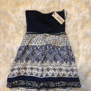 NWT navy Roxy strapless dress